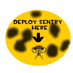 Deploy Sentry Here: Yellow sign with sentry